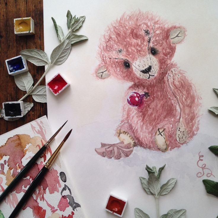 Watercolor painting vintage artist teddy bear by Eli Bichita