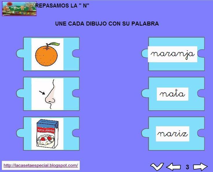 MATERIALES - Juegos LIM de lectoescritura: n  Se trata de juegos hechos con el editor de actividades EdiLim para trabajar la lectoescritura de manera divertida. Cada juego trabaja una letra y encontraremos actividades como: unir imagen con palabra, juego de memoria, ordenar sílabas y ordenar palabras para formar frases.  Descomprimid la carpeta JOC_EDILIM_N.zip y pulsad dos veces sobre el archivo repasamos_la_n.html.  http://arasaac.org/materiales.php?id_material=1199