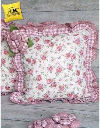 Cuscino arredo Angelica Home & Country Collezione Rose Couture Decoro Rose Fiorite