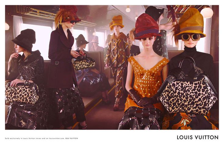 Louis Vuitton's fall 2012 campaign takes direction from the runway show with an image set onboard a train featuring a cast full of up and comers photographed by Steven Meisel. Models Mackenzie Drazan, Marie Piovesan, Franzsika Müller, Julia Nobis, Ros Georgiou, Marina Heiden and Elena Bartels wear the label's turn of the century outerwear and oversize hats with Vuitton luggage in plain view of course.