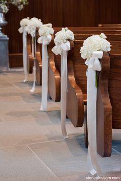 Pew decorations, Our Lady of Mercy Chapel, Newport, RI Catholic Weddings, Newport Churches