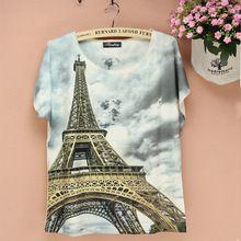 3d torre eiffel impressão digital padrão camiseta moda feminina verão vestido 2014 novo plus size t- camisa senhoras top novidade tees(China (Mainland))