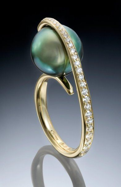 Tahitian pearl ring with diamonds♥✤ | Keep the Glamour | BeStayBeautiful