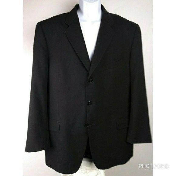 Men's Joseph Abboud 44R 3 button black suit jacket #JosephAbboud #3button