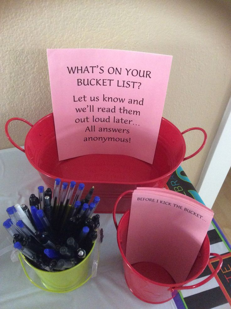 Was inspired to create the Bucket List game for my husband's 50th birthday party after seeing so many fun ideas for decorations.  Pretty self-explanatory...Have fun with it!