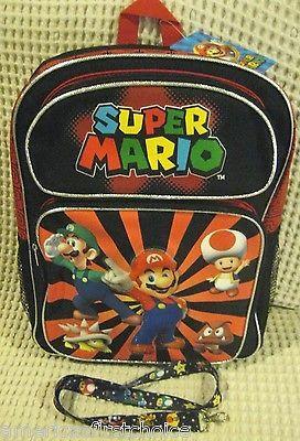 """Super Mario Brothers Mario Luigi Goomba King Koopa Toad 16"""" Backpack+Lanyard-New"""