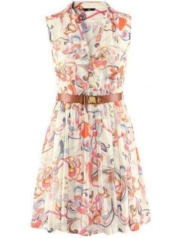 Delicate V Neck Sleeveless Print Chiffon Summer Dresses(With Belt)