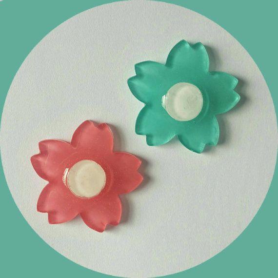 Mini Pair Cherry Blossom Flowers Brooch, Vintage Inspired, Novelty, Rockabilly…