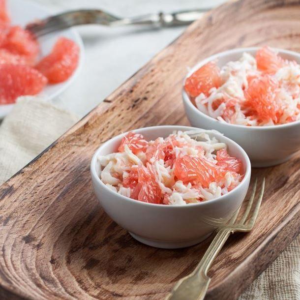 Salade de pamplemousse, crevettes et crabe