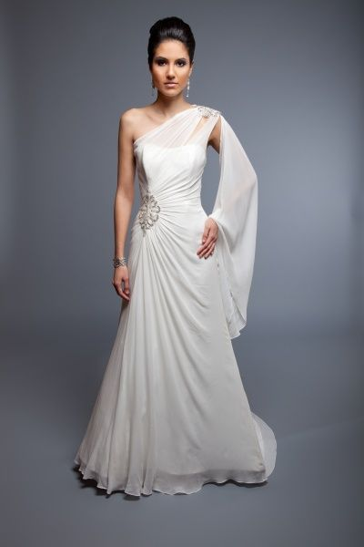 This gown is just perfect in white for the bride or color for an evening event!