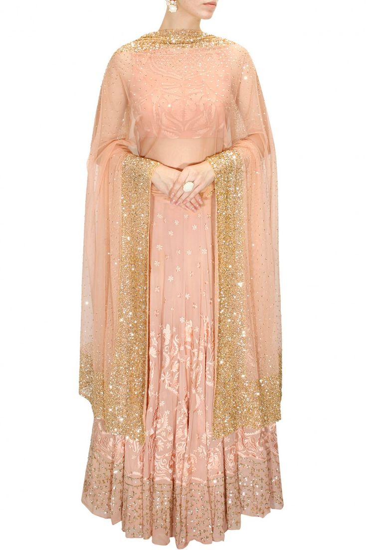 Peach thread and sequins embroidered lehenga set available only at Pernia's Pop-Up Shop.