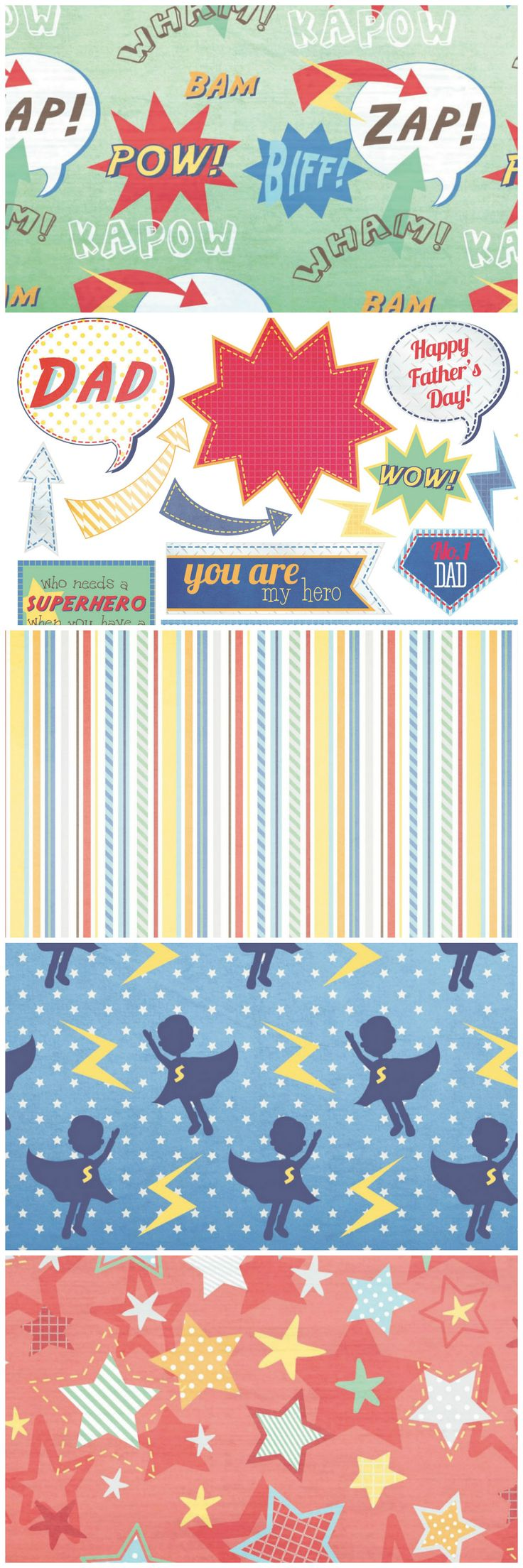 Make a card to show your dad that he's your hero with these superhero Father's Day FREE printable papers from Papercraft Inspirations magazine.