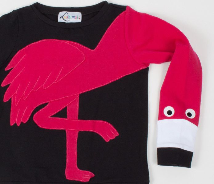 Pullover & Sweatshirts - Pullover Flamingo Luanimals pink schwarz - ein Designerstück von Luanimals bei DaWanda
