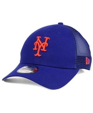 New Era New York Mets Team Trucker Patch 9FORTY Snapback Cap - Blue Adjustable