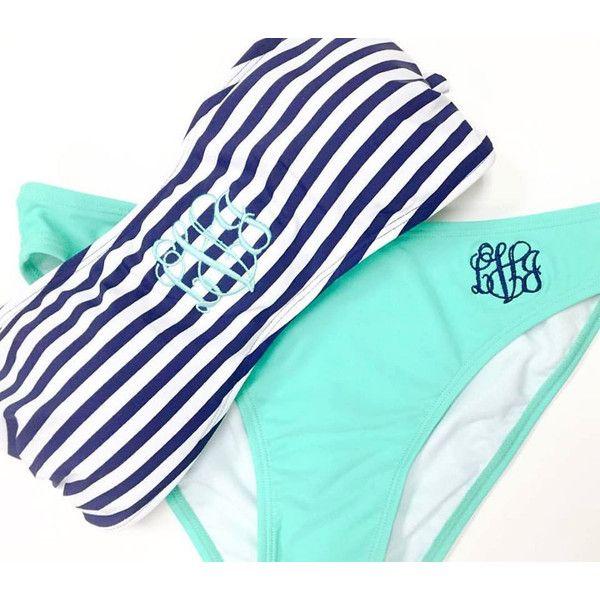 Monogrammed Bikini Top Personalized Swim Bandeau Top Mix and Match... ($17) ❤ liked on Polyvore featuring swimwear, bikinis, bikini tops, pink, women's clothing, bandeau tankini top, pink bikini, tankini swim tops, swimming bikini and bandeau top bikini