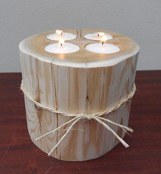Rustic Candle Holder -- Four Tea Light Candles -- Wedding Centerpiece -- Outdoor Wedding -- Northern White Cedar -- Cedar Candle Holder