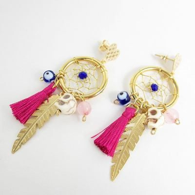 Aretes mujer atrapasueños oro golfilled lindas joyas. Dreamcatcher earrings