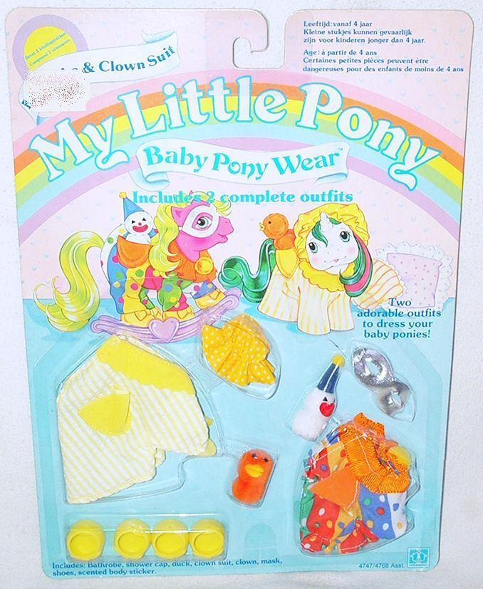Generation One G1 vintage My Little Pony Baby Pony Wear with pocket pals Bathrobe & Clown Suit with duck and clown pocket pals in package by seller divando2005. #mlpmib #mylittlepony #g1mlp
