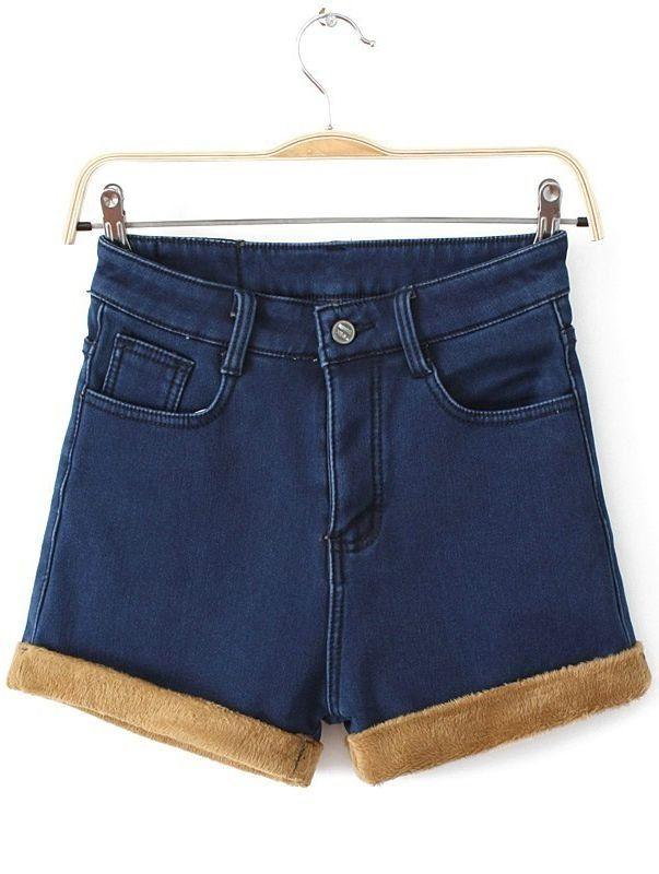 Jeans com barra pelúcia.