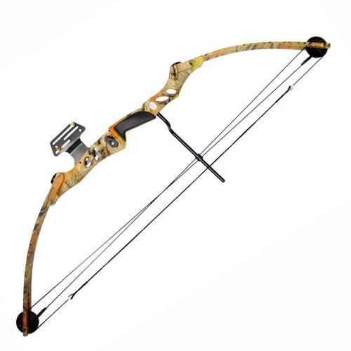 55 lb 29'' Compound Bow w/ 5-Spot Paper Target - Autumn Camo - OMJ Outdoors