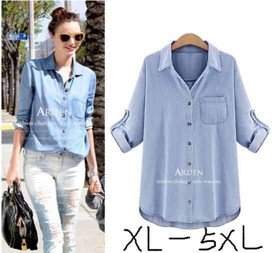2016 new kimono fashion loose cardigan denim shirt Women's plus size 5xl Vintage long sleeve turn-down collar tops and blouses