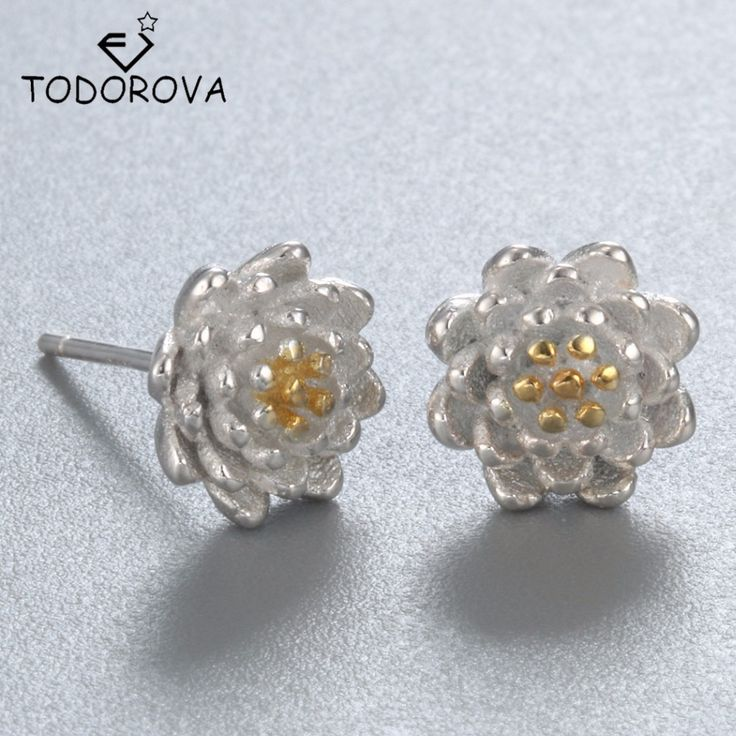 Todorova 925 Sterling Silver Elegant Lotus Flower Stud Earrings Hypoallergenic Sterling-silver-jewelry pendientes de plata //Price: $US $2.79 & FREE Shipping //     #hashtag4