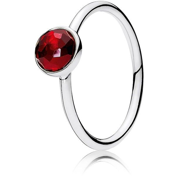 Pandora Ring - Sterling Silver & Glass July Birthstone Droplet ($45) ❤ liked on Polyvore featuring jewelry, rings, silver, pandora jewelry, sterling silver jewelry, sterling silver rings, birthstone jewelry and glass jewelry