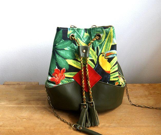 Sac à main en cuir souple, élégant et tropical ! Sur DaWanda.com