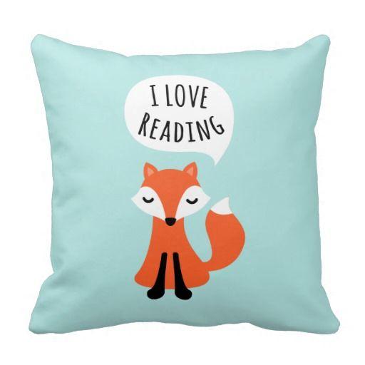 Amo el leer del zorro lindo del dibujo animado en  cojin