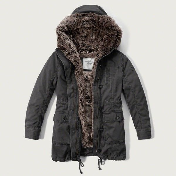 Abercrombie & Fitch Faux Fur Lined Twill Parka ($240) ❤ liked on Polyvore featuring outerwear, coats, olive, parka coat, faux fur lined coat, twill parka, gray coat and abercrombie & fitch