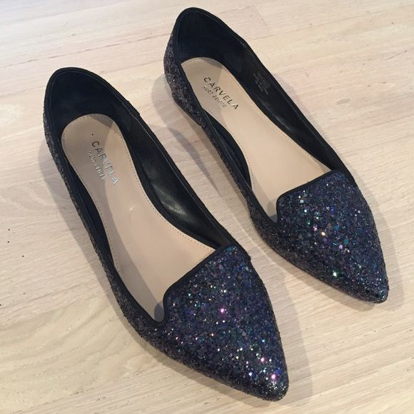 "Carvela Kurt Geiger Navy Glitter Shoes Amazing shoes! Perfect for everyday or a formal occasion. Worn a few times and in very good condition. Heel is 1"". Purchased from Nordstrom. Kurt Geiger Shoes Flats & Loafers"