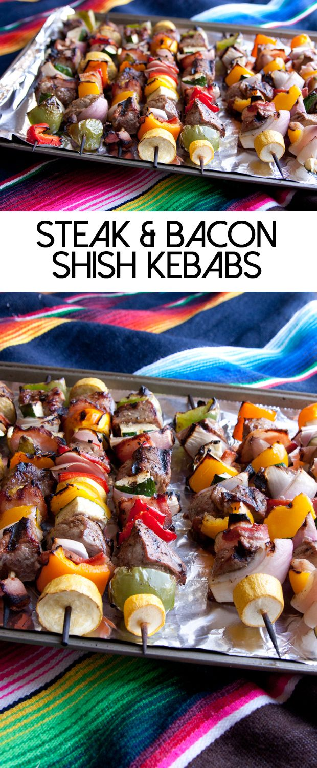 Grilling MUST! Steak and bacon shish kebabs are totally delicious.