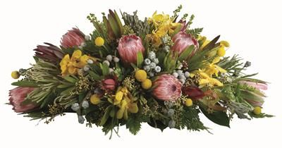 T21 Carinya. This striking round native arrangement is the perfect centrepiece for any occasion.