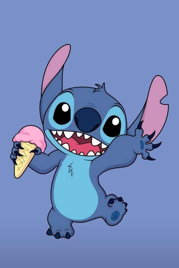 Stitch avec une glace   Dessins de personnages disney ...