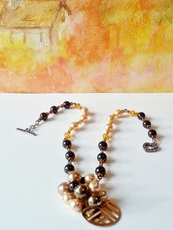 Necklace Gold Brown Pearls Swarovski Gift 402 by CinfulDesigns, $29.00