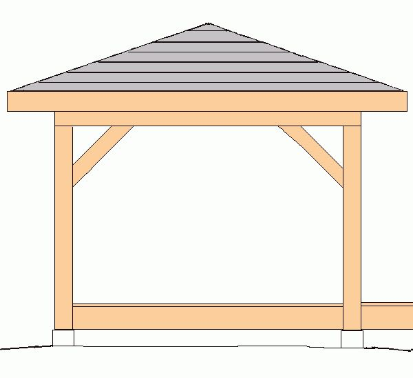 Gazebo hip roof 10 39 x10 39 plans backyard ideas pinterest for Simple gazebo plans