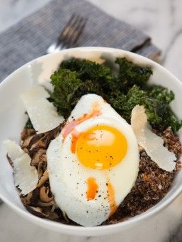 Quinoa Breakfast Bowl with Crispy Kale Chips : Recipes : Cooking Channel