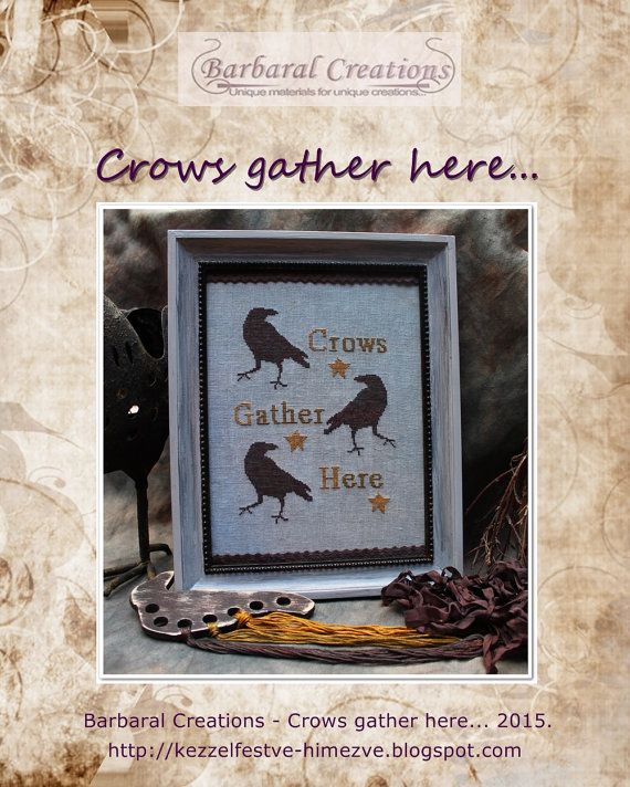 Crows gather here PDF  cross stitch E-pattern by BarbaralCreations #halloween #halloweencrosstitch #crow #raven