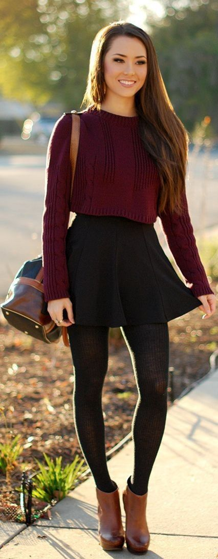 Fall matron sweater with black skirt and brown high boots