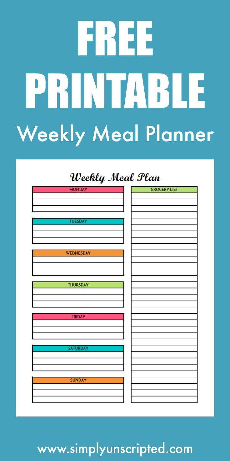 free weekly meal planning printable with grocery list food