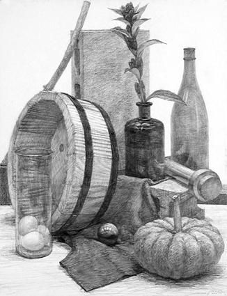 鉛筆・静物デッサン「竜胆・桶・かぼちゃ…」