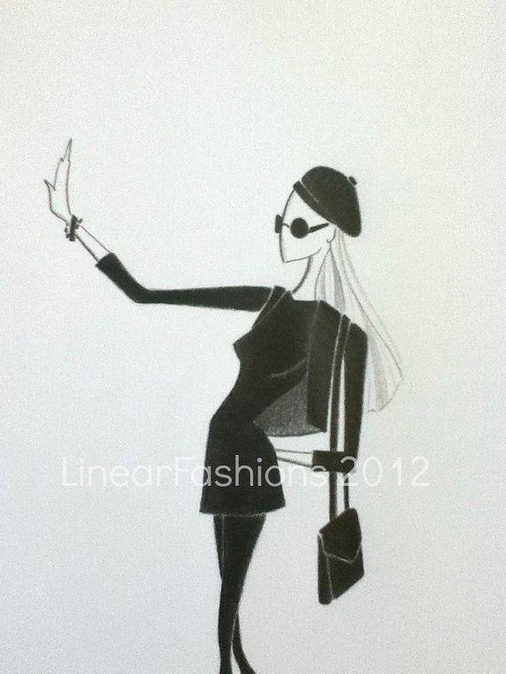 Fashion Art Illustration 1960s Beatnik Black and White ...