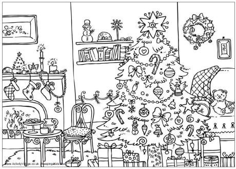 Christmas room colouring page
