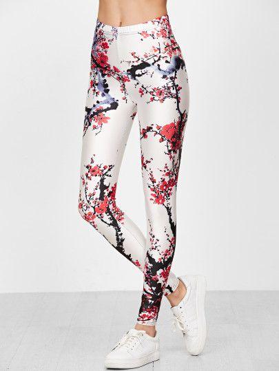 Leggings con estampado floral cintura elástica-Sheinside