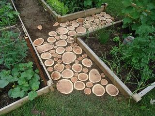A beautiful garden path made from wooden disks! Easy to make if you have a good drop saw! Looks great in this veggie garden.