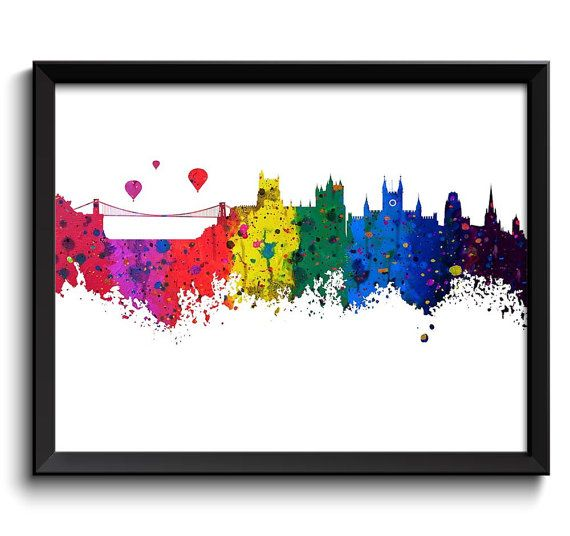 Bristol Skyline Watercolor Art Poster Print by CityPrintsYourWay