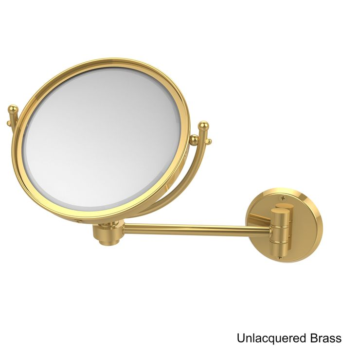 Allied Brass Wall-mounted 8-inch Makeup Mirror with 3X Magnification (Unlacquered Brass), Clear