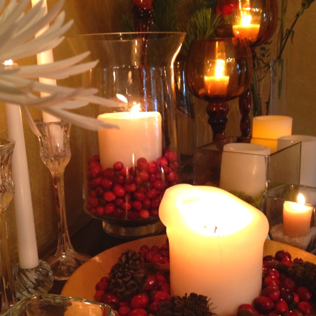 Candle Decoration With Cranberries Pine Cones And Flowers