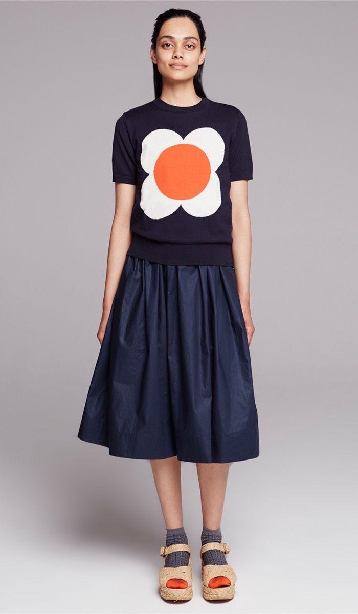 Orla Kiely Love Bird Intarsia T-Shirt shown with Orla Kiely Stem socks in grey & orange