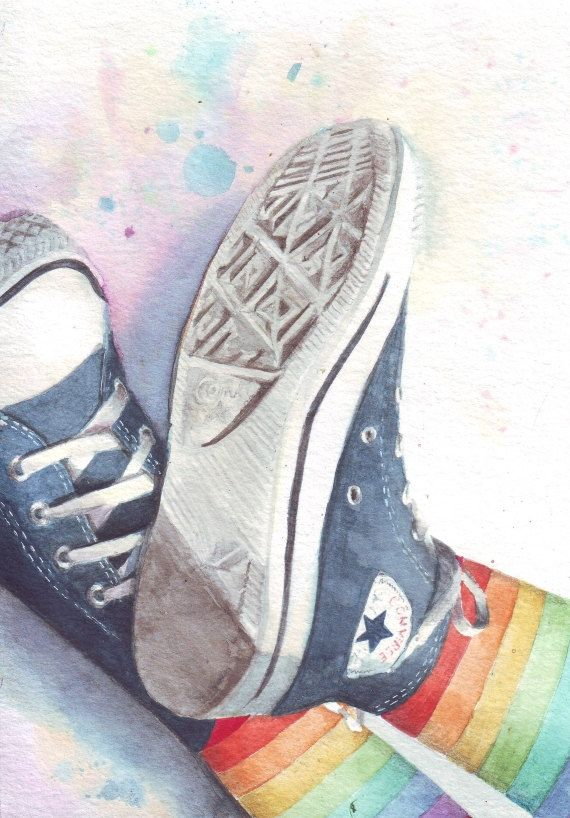 #Converse and Rainbow Stockings, in #watercolor by Helga ...
